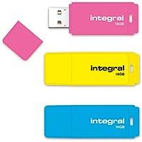 Integral Neon USB Drive rosa/gelb/blau Pack of 3 (16 GB + 16 GB + 16 GB)