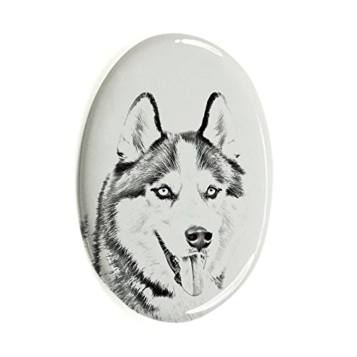 Sibirischer Husky, Oval Grabstein aus Keramikfliesen mit einem Bild eines Hundes