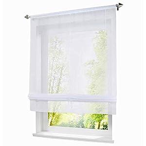 BAILEY JO 1er-Pack Raffrollo mit Tunnelzug Voile Transparent Raffgardinen Vorhang (BxH 120x155cm, Weiß)