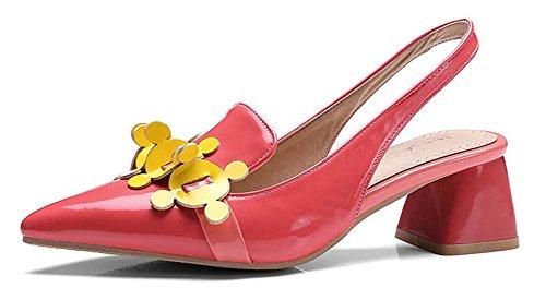 L&Y Donne Punta-Toe Scarpe con tacco basso in bocca poco profonda in pelle di brevetto a pompa Scarpe personalizzate Sandali in Slingback Rosso
