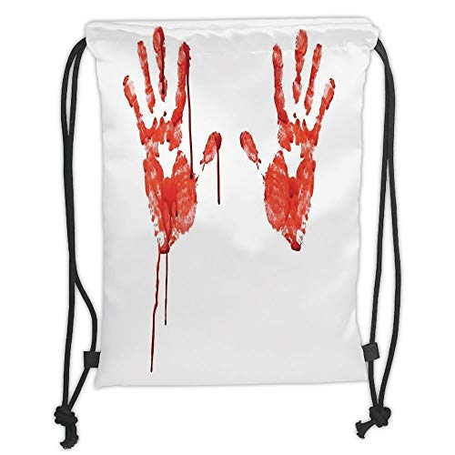 GONIESA Drawstring Sack Backpacks Bags,Horror,Handprint Like Wanting Help Halloween Horror Scary Spooky Flowing Blood Themed Print,Red White Soft Satin,5 Liter Capacity,Adjustable String Closur (Themed Halloween Comics)