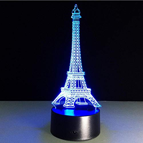 Pbbzl France Eiffel Tower Led 3D Night Light Changeable 7 Color Change Mood Lamp Bedroom Table Lamp Kids Friends Family Best Gifts