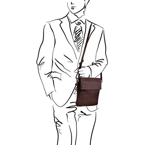 Tuscany Leather Morgan - Borsa a tracolla in pelle Cognac Borse uomo in pelle Rosso