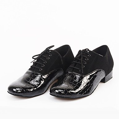 Scarpe da ballo-Personalizzabile-Da uomo-Balli latino-americani Jazz Danza moderna Scarpe da swing-Quadrato-Scamosciato Di pelle Vernice- Black