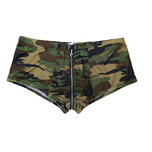 Agoky Herren Unterhosen Boxer Ouvert Shorts Briefs Camouflage Druck Low Rise Trunks Reizvolle Kurze Hose Unterwäsche Camouflage M(Taille 66-80cm) (Low Rise Jungen Kurze)