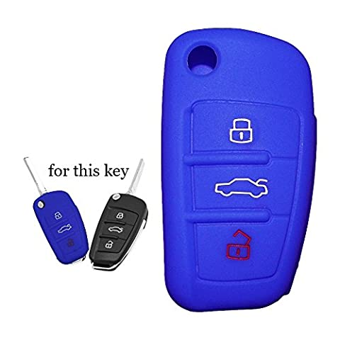 Silikon KFZ Schlüssel Fall Klappschlüssel Set geeignet für AUDI A3A4Cabriolet A6Allroad Q7R8RS4S6TT 3Tasten 1NEU
