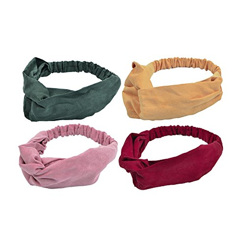 LABOTA 4 Pack Women Headbands Vintage Stretchy Elastic Hairband Twisted Hair Accessories for Girls; Muti-colored