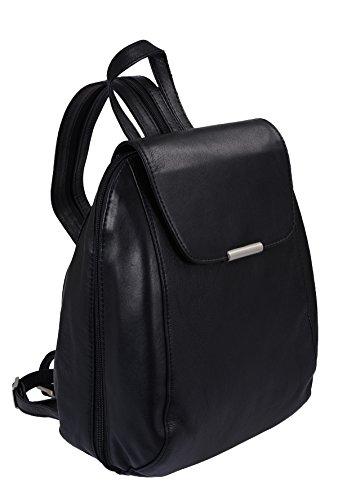 LOUANA Sac à dos, cuir véritable, noir 23x29x14cm