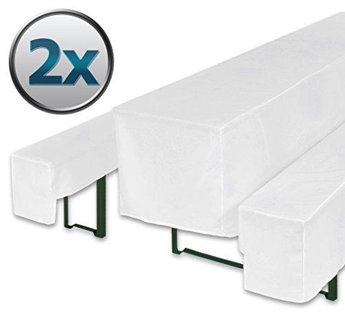 Bellboni Biertischhussen für Bierzeltgarnitur, Bierbank Hussen, weiß, 3er Set für Biertische mit 70 cm Breite, 2er Pack für 2 Tische und 4 Bänke