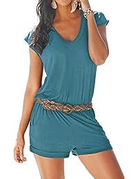 e0d4be21a Aitos Women's Casual Summer Beach Jumpsuit V Neck Elastic Waist Short  Romper Jumpsuit Playsuit with Pockets