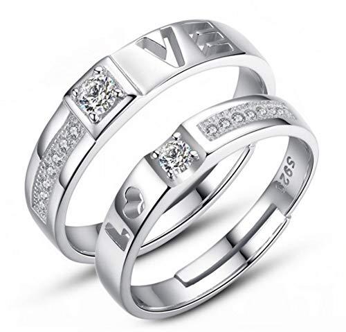 gsringe 1 Satz = 2 Stücke Neue Cz Hochzeit Ringe Für Frauen Männer Silber Farbe Schmuck Paare Engagement ()