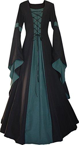 Dornbluth Damen Mittelalter Kleid Johanna Schwarz (52/54, Schwarz-Dunkelgrün) Fashion Dress Forms