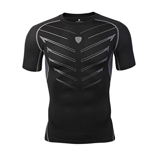 2018 Mode Sport T-Shirt Herren, DoraMe Männer Yoga Athletische Hemd Trainings Eignungs Gymnastik Laufende Bluse Druck Slim Fit Kurzarm Shirt (Schwarz, Asien Größe L) (Lacoste Kurzarm-shorts)