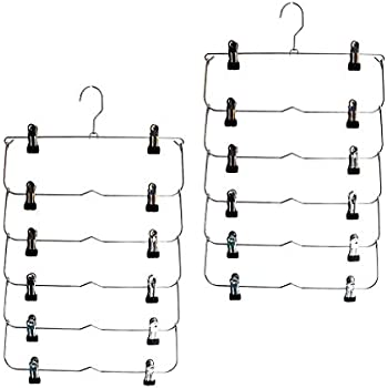 Multi Trouser Hanger with Adjustable Clips Durable Metal Clothes Hanger- Slack Space Saving 4-on-1 GAIN 80/% More Space Jean ZOBER Premium Non Slip Hangers Set of 6 Towels Skirt Hangers