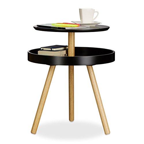 Relaxdays Table d'appoint ronde avec surface rangement en bois 3 pieds canapé console HxlxP: 55 x 47 x 47 cm, noir