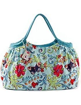 PE FLORENCE Shopper Pleats BUTTERFLY & FLOWER türkis, Strandtasche Badetasche