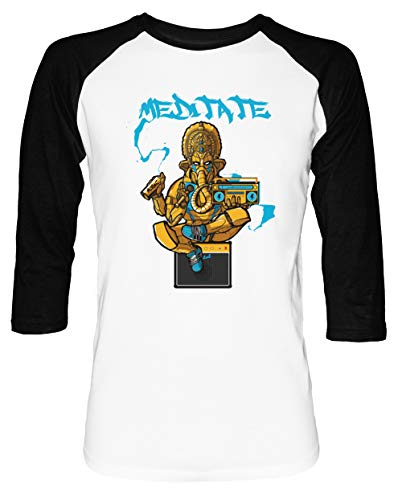 Ganesh Trance - Meditation Herren Damen Unisex Baseball T-Shirt Weiß Schwarz 2/3 Ärmel Women's Men's Unisex (Disney Epcot Center)