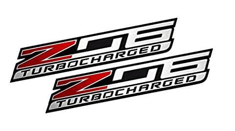 2x (pair/set) Z06 TURBOCHARGED Highly Polished Aluminum EMBLEM for Chevy Chevrolet CORVETTE C6 C7 in Red Black Silver