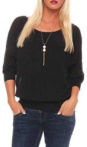 Malito Damen Bluse mit passender Kette | Tunika mit ¾ Armen | Blusenshirt mit breitem Bund | Elegant - Shirt 1133 (schwarz)