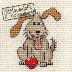 Mouseloft Stickvorlage für Kreuzstich Verspielter Hund