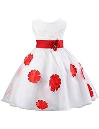 EOZY-Vestito Estivo di Cotone Misto e Organza Gonna Principessa con Fiore  per Bambina Rosso dce7fa2c993