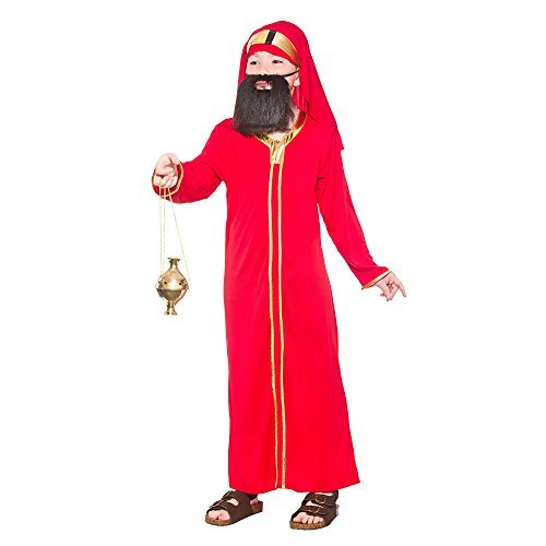 (S) Red (3-4) Boys Wise Man Balthazar Costume for Christmas Festive Nativity Fancy Dress by Partypackage ()