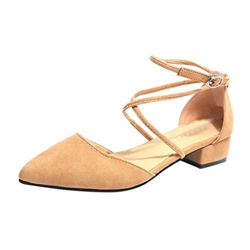 T-shao Damenmode Casual Sommer Sandalen Spitzschuh Schnalle Quadrat Ferse Sandalen Mittlere Ferse Tägliche Schuhe (Color : Khaki, Size : 36 EU) -