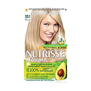 Garnier Nutrisse Blonde Hair Dye Permanent, Up to 100 Percent Grey Hair Coverage, with NEW 5 Oils Conditioner - 10.1 Ice Blonde