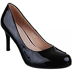 Klassische Damen Lack Pumps Glänzend Stilettos Abend Schuhe Party Hochzeit XQ (38, Schwarz)