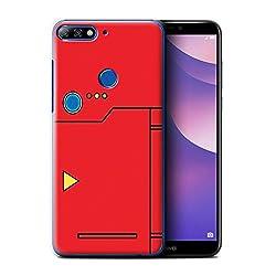 Stuff4® Hülle/Case für Huawei Y7/Prime/Pro (2018)/Rot Muster/Anime Cartoon Kodex Kollektion
