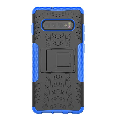 KISCO pour Coque Samsung Galaxy S10 Plus,2 en 1 Cover avec Support Antichoc Anti-Rayures Heavy Duty Flexible TPU+PC Etui de Protection pour Samsung Galaxy S10 Plus-Bleu