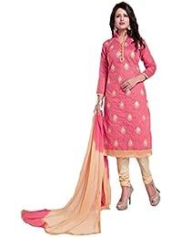 Shree balaji's women cotton unstitched dress material with dupatta pink