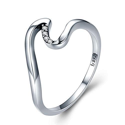 BTOLLA 925 Sterling Silber Ring, Rose Prinzessin Kubisch Zirkonia Kristall Engagement Ringe Beste Versprechen Ringe für Damen Jahrestag Cocktail Pfeil Hochzeit Bands Sammlung Schmuck (61 (19.4)) (Pfeil-ringe Größe 5)