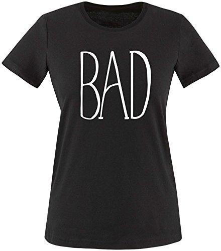 EZYshirt® BAD Damen Rundhals T-Shirt Schwarz/Weiss