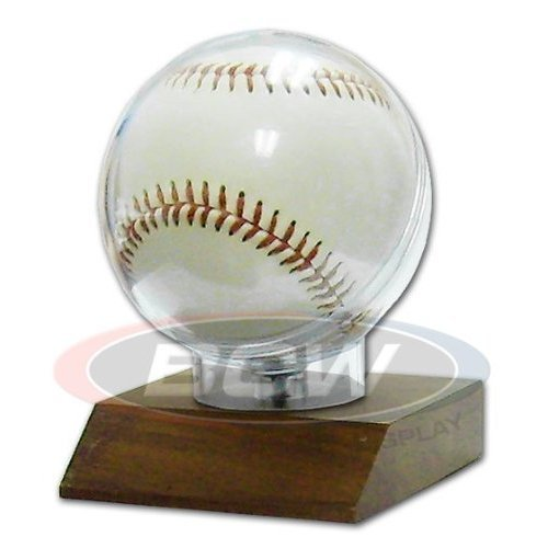 BCW Wood Base Baseball Holder with Real Walnut ! Great Looking and Affordable Sports Memorabilia Holder to Display your Favorite Autograph Baseball ! Makes a Great Gift ! by BCW