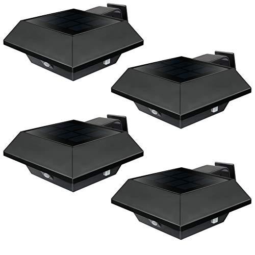 KEENZO LED Dachrinnenlampe, Solar Dachrinnenleuchte, 12 LEDs, 2 W, PIR-Sensor, Schwarz,Kaltweißes Licht, 4er-Set