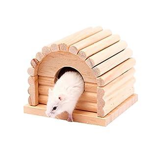 UEETEK Hölzernes Haustier Kleintier Versteck Hamster Haus-nette hölzerne Bettwäsche Hütte, 4,4 * 4,3 * 3,6 Zoll (L * W * H)