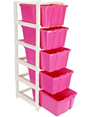 Joyful Studio 5 X-Large Plastic Modular Drawer System for Home, Office, Hospital, Parlor, School, Doctors, Home and Kids, Product Dimension When assembeled (31cmx39cmx98 cm)