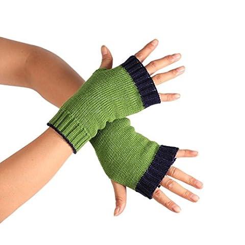 Saingace gloves Winter Handgelenk Arm Handwärmer gestrickte lange Fingerlose Handschuhe Mitten (Blau)