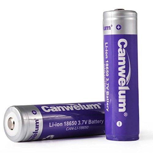 Canwelum Lithium Ionen 18650 Akku Geschützt, Li-ion 18650 Batterie 3,7V, Wiederaufladbare Li-ion 18650 Akku - Anwendbar für Taschenlampe oder Stirnlampe LED, Nicht für E-Zig (2 x Akkus)