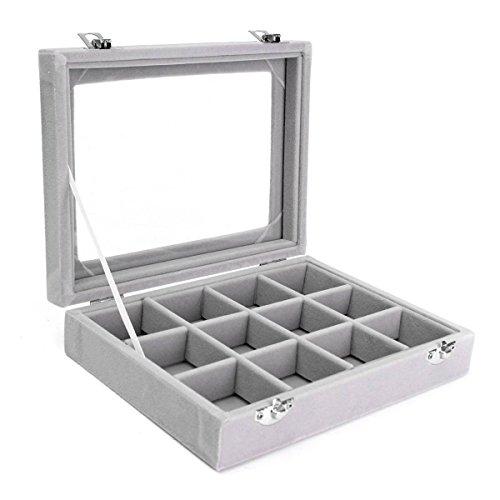 Samt Glas Schmuck Box Ring Display Organizer Tablett-Halter Ohrringe Aufbewahrung Fall (12grids-grey) (Box Schmuck)