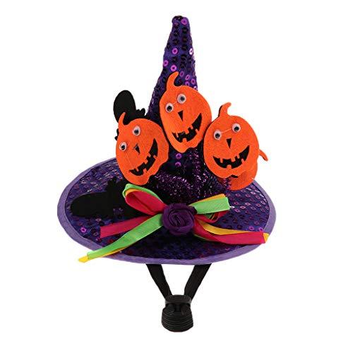 Homyl Haustier Hexenhut Hunde Katze Hut Kopfbedeckung für Halloween - Lila Kürbis
