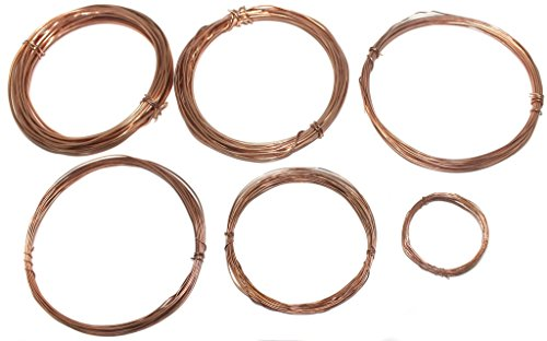 Beadsnfashion Jewellery Making Brass Copper Craft Wire 6 pcs Combo; 16, 18, 20, 22, 24 & 26 Gauge Thick, 5 Mtrs Each