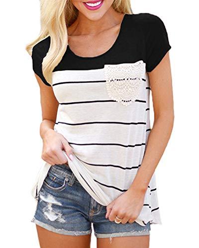 Flying Rabbit Damen Shirt Sommer Kurzarm Farbblock Streifen Tops Rundhals Bluse, Stil1-schwarz, S -