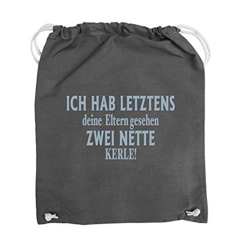 Comedy Bags - Ich hab letztens deine Eltern gesehen zwei nette Kerle! - Turnbeutel - 37x46cm - Farbe: Schwarz / Pink Dunkelgrau / Eisblau