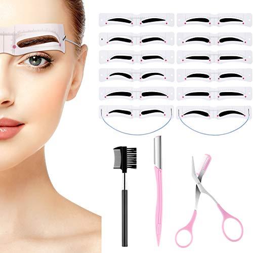 12 Stücke Augenbrauen Schablonen Augenbrauen Form Schablonen Wiederverwendbares DIY Make up Werkzeug mit Riemen, Augenbrauen Schere, Augenbrauen Rasierer, Augenbrauen Pinzette und Augenbrauen Bürste