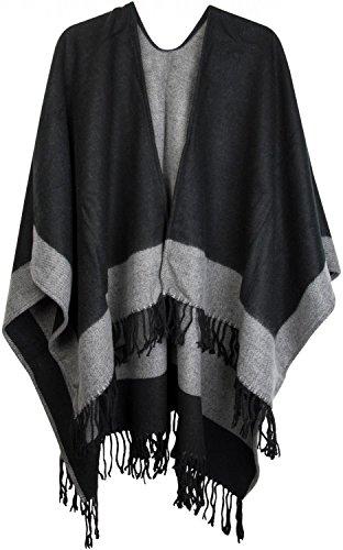 styleBREAKER Poncho, Cape im 2-Tone Design mit Fransen, Umhang, Überwurf Cape, Wendeponcho, Damen 08010004, Farbe:Schwarz-Grau