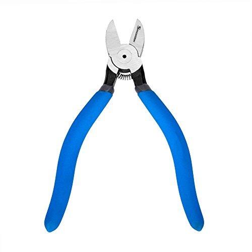 Speedwox Zange/Seitenschneider, aus Kunststoff und Karbonstahl, abgewinkelt, verwendbar zum Durchtrennen von Draht etc., hohe Hebelwirkung, mit Feder, blau