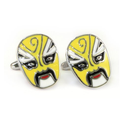Gelb Mexikanische Wrestler-Maske Manschettenknöpfe in Geschenkbox