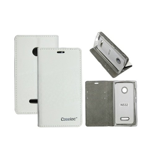 Casotec Premium Kickstand PU Leather Wallet with Invisible Magnet Closure Flip Case Cover for Microsoft Lumia 532 - White
